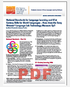 National Standards 21st Century Skills and Sony Virtuoso Language Lab Technology White Paper PDF